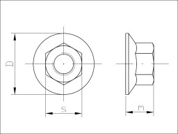 Drawing - Nut with serrated collar DIN 6923